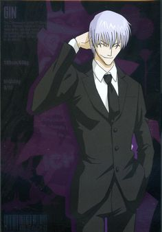 Gin wears a suit well.  His face is drawn kind of weird, but the suit flatters his slim figure. Gin Bleach, Bleach Anime, Bleach Characters, Anime Characters, Ichimaru Gin, Rangiku Matsumoto, Man Of Mystery, Boy Drawing, Angel Of Death