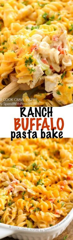 This is one of our family favorites chicken casseroles! Ranch Buffalo Pasta Bake is loaded with pasta, chicken, and cheese in a deliciously creamy buffalo ranch sauce baked until hot & bubbly.