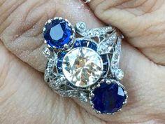 Lot: Art Deco Platinum Diamond Sapphire Period Ring, 7ctw, Lot Number: 0161, Starting Bid: $1, Auctioneer: Jasper52, Auction: Fine Jewelry & Gemstones Auction, Date: November 14th, 2017 CET