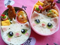 So we've already shown so-cute-we-could-cry sushi in some pretty creative designs, and here are more bento boxes of JOY in some popular Disney shapes. Bento Box Lunch For Kids, Cute Bento Boxes, Lunch Box, Japanese Food Art, Japanese Lunch, Bento Recipes, Baby Food Recipes, Bento Ideas, Food Art Bento