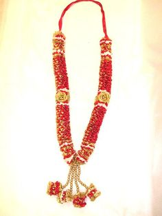 Beautiful Hand Made Jai Mala - Red/Gold