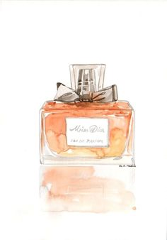 Christian Dior Miss Dior Parfum Fragrance - Watercolor Perfume bottle illustration on Etsy, $35.00