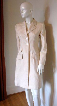 Vintage Bill Blass Designer Ivory Woven Textured Jacket Coat
