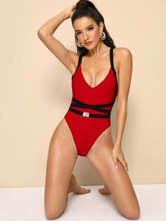 To find out about the Criss Cross One Piece Swimwear at SHEIN, part of our latest One-Pieces ready to shop online today! Latest One Piece, Bra Types, Red Pattern, Beachwear For Women, One Piece Swimwear, Lingerie Sleepwear, Spandex Material, Criss Cross, Fashion News