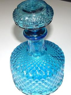Blue Glass Diamond Cut Decanter