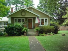 bungalow colors exteriors | 1929 craftsman bungalow, small brick and clapboard bungalow on a tree ...