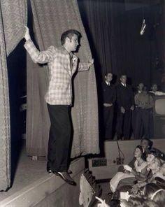 Elvis Presley looks at an audience
