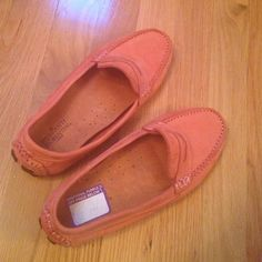 Peach suede  loafers, excellent condition . Peach suede loafers, extremely comfortable and great for the summer weather. Bough at DSW and only worn once. No damage , no stains, no rips. Practically the way I bough it. Italian designer , made in Brazil. True to the size 7.5 Mercanti Fiorentini Shoes Flats & Loafers