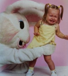 Creepy Easter Bunny photos that will make your skin crawl!!!   You're in The Briar Patch Baby! And You're Gonna Die!     I need a back story on this. How did this ground position happen in real life? Was the Easter Bunny supposed to lay on the ground on its side, leaning its gigantic head on his hand while the baby lay in front with her Mary Jane's crossed? Was she totally cool and on board with the shoot until she saw the bunny of doom enter the room? Then did she try to get the hell out of…