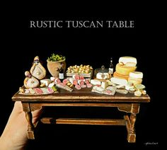 Luxury Rustic Italian Deli Table - Artisan fully Handmade Miniature in 12th scale. From After Dark miniatures.