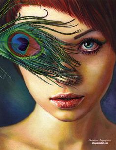 Artist: Christina Papagianni, 2013 color pencil {contemporary artist female redhead peacock feather eye woman face portrait drawing}