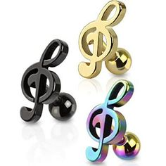 "Treble Clef Music Note Tragus Cartilage Barbell Ear Stud Ring 1 4"" 16 Gauge 