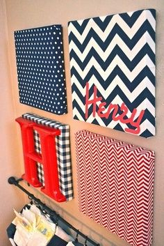 So cute and a unique twist to putting a name on the wall! Wall Art Canvas with letters: chevron, dot, plaid fabric. Tons of possibilities @ DIY Home Crafts