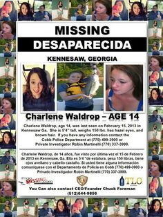 2/15/2013 - Charlene Waldrop, 14, missing from Kennesaw, GA.  PLEASE SHARE IN YOUR MOST POPULAR BOARDS