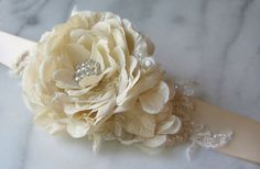 Champagne Gold Sash, Bridal Belt, Soft Golden Champagne Flower Sash with Beaded Lace - GLOW