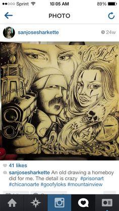 Chicano Art Tattoos, Chicano Drawings, Body Art Tattoos, Aztec Warrior Tattoo, Og Abel Art, Gangster Drawings, Chicano Love, Cholo Art, Prison Art