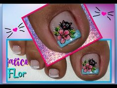 Decoración de Uñas Pies Gatico/ Uñas pies/decoración de uñas pies - YouTube Cute Pedicure Designs, Toe Nail Designs, Cute Pedicures, French Pedicure, Special Nails, Magic Nails, Cat Nails, Dope Nails, Toe Nail Art