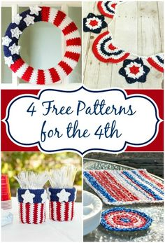 4th of July crochet patterns; red, white, blue wreath; stars and stripes bunting