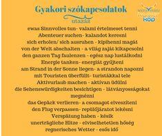 Utazás - szószedet Learn German, German Language, Homeschool, Journal, Education, Learning, English, Travel, Amigurumi