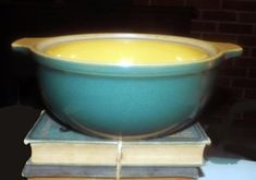 Vintage (1993) Denby Spice green and gold handled 3 qt | 30 oz casserole dish.  Green outer body, gold inner bowl.