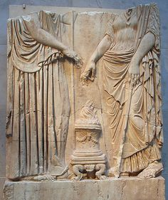 Figures of Demeter and Persephone - Lower part of a marble relief with two goddesses, Eleusinian Relief, cast of which is displayed nearby, Metropolitan Museum of Ar