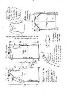 Blusa com decote V e gola invertida – Marlene Mukai Sewing Hacks, Sewing Projects, Clothing Patterns, Sewing Patterns, Refashion Dress, Sewing Clothes Women, Baby Dress Patterns, Diy Tops, Sewing Stitches