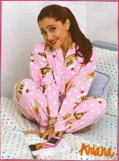 Ariana Grande wearing sundae ice cream pj's