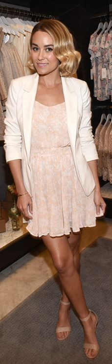 Lauren Conrad: Jacket and shoes – LC Lauren Conrad  Dress – Paper Crown + Rifle Paper Co.