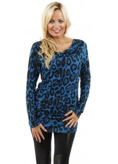 Blue Leopard Print Cowl Neck Jersey Top
