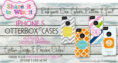 Monogrammed iPhone 5 Otterbox Cases by Lipstick Shades