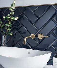 Dark herringbone bathroom tile with brass fittings and white sink. Modern bathroom with beautiful contrasts in colors and textures. - home decorations - Dark herringbone bathroom tile with brass fittings and white sink. Modern bathroom with beautiful c - Diy Bathroom, Double Sink Bathroom, Bathroom Inspo, Bathroom Renos, Bathroom Inspiration, Double Sinks, Bathroom Ideas, Bathroom Black, Bathroom Organization