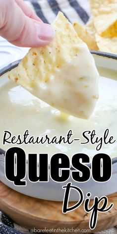 Best Queso Blanco Dip It's easier than you think to make restaurant style queso at home! Yummy Appetizers, Appetizers For Party, Appetizer Recipes, Snack Recipes, Cooking Recipes, Snacks, Cooking Tips, Freezer Recipes, Chip Dip Recipes