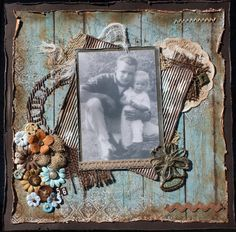 Siblings ~ Masculine heritage page with distressed edging and vintage button flower cluster.