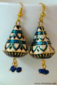Earrings Dangle Conical-Jhumki Meenakari Work- Rajasthani Jewelry Art of West India #bestofEtsy #gifts