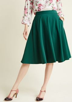 Just This Sway Midi Skirt in Emerald, #ModCloth