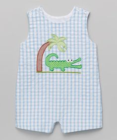 Another great find on #zulily! Light Blue Gingham Alligator Shortalls - Infant & Toddler #zulilyfinds