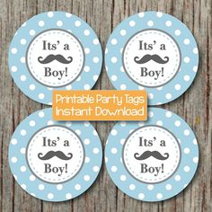 Little Man Baby Shower Mustache Cupcake Toppers Its a Boy! by BumpAndBeyondDesigns, $4.00