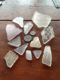 12 pcs. 100% natural pure patterned white sea glass