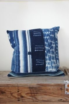 African Indigo Vintage Patch Pillow (Large)