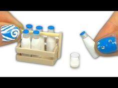 Miniatura de botella de leche y caja de leche para muñeca - DIY Tutorial - YouTube