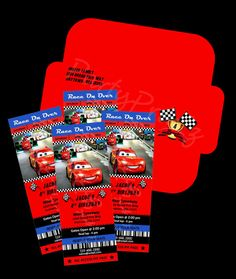 Printable  Disney Cars Party  Ticket Invitations & envelopes (Personalized) by PartyPrintz.etsy.com