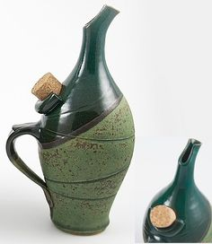 """Italian Oil Jar: These are Franco Balducci from San Gimignano, Italy. This is his original """"Oil Bottle With Drop Catcher""""; i.e. a drip-less olive oil bottle! Wonderful! I have one. M.J.D."""