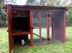 This is a pretty nice coop design. I am thinking that, with slightly different colors (grey and blue) this would do well for our own chickens. We might put a little extra run on it, of course... But this would sit four to six chickens without a problem.