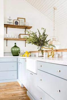 Kitchen Color Palettes, Kitchen Wall Colors, Farmhouse Kitchen Lighting, Modern Farmhouse Kitchens, Kitchen Interior, New Kitchen, Light Blue Kitchens, Blue Kitchen Cabinets, Blue Walls Kitchen