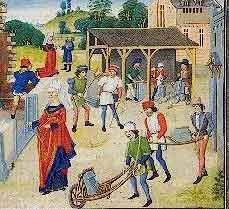Barrow boy: an illumination created between 1448 and 1465 shows a wheelbarrow being used for construction work