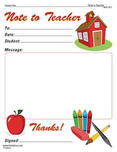 School printables... Note to teacher free printable