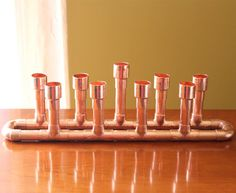 Menorah Industrial Style Hanukkah Copper Candle by McGdesign