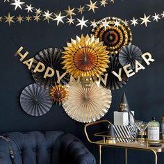 Paper Fan Decorations, New Years Decorations, New Year's Eve Celebrations, New Year Celebration, New Year Backdrop, New Year's Eve 2019, New Eve, New Year Diy, Happy New Year Banner