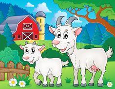 Stock fotó: Kecske · kép · fű · épület · művészet · állatok