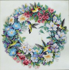Hummingbird Wreath by Dimensions Gold Collection, counted cross stitch kit Cross Stitch Bird, Cross Stitch Flowers, Counted Cross Stitch Patterns, Cross Stitch Charts, Cross Stitch Designs, Cross Stitching, Cross Stitch Embroidery, Dimensions Cross Stitch, Illustration Blume